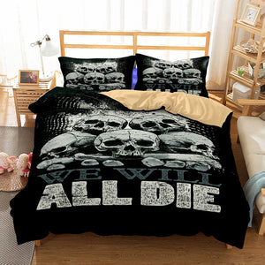We Will All Die Skulls Bedding