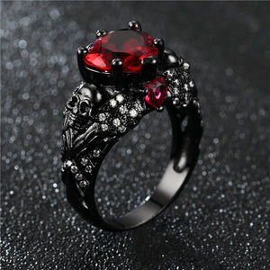 Crystal CZ Gothic Flower with Black Skull Ring Valentine's Day