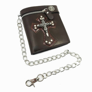 Skull Cross Black Leather Biker Wallet with Key Chain