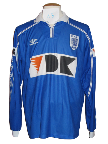 KAA Gent 1999-00 Home shirt PLAYER ISSUE #13