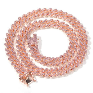 Rose Gold Cubic Zirconia Cuban Link Necklace Fashion Jewelry
