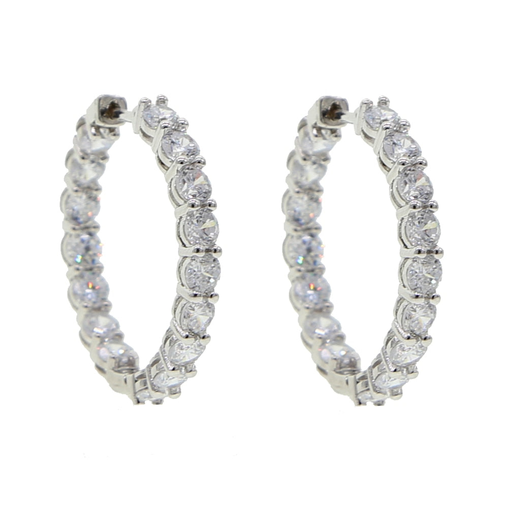 Icy Bling Cubic Zirconia Crystal Hoop Earrings Bling Ring Boutique