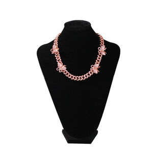 Icy Cubic Zirconia Rose Gold and Pink Ice Monarch Butterfly Bling Cuban Link Hip Hop Choker Necklace Bling Ring Boutique