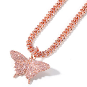 Barbie Pink Ice Icy Cubic Zirconia Monarch Butterfly Bling with 9mm 12mm hip hop cuban link choker necklace bling ring boutique