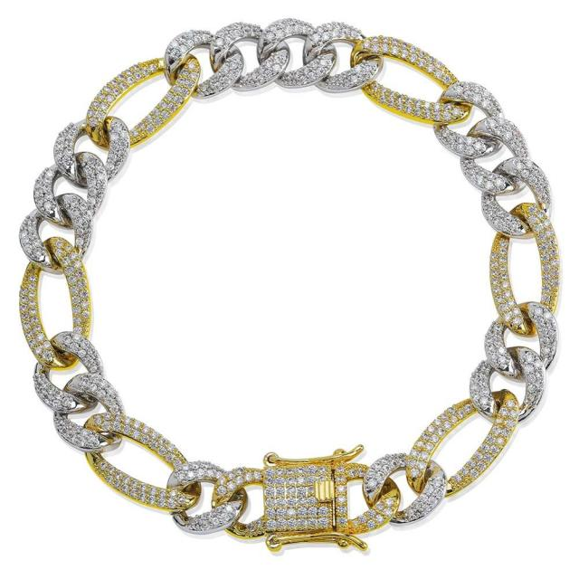 Icy Cubic Zirconia Figaro Link Bracelet Bling Ring Boutique