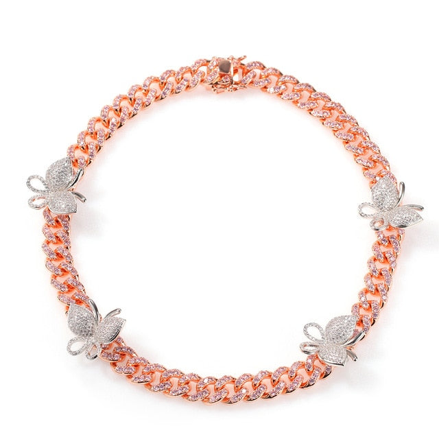 Icy Cubic Zirconia Rose Gold Pink Ice and Silver Monarch Butterfly Bling Cuban Link Hip Hop Choker Necklace Bling Ring Boutique
