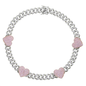 Icy Cubic Zirconia Pink Hearts Cuban Link Choker Necklace