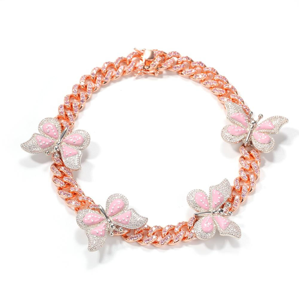 Icy Pink Butterfly Effect Cuban Choker