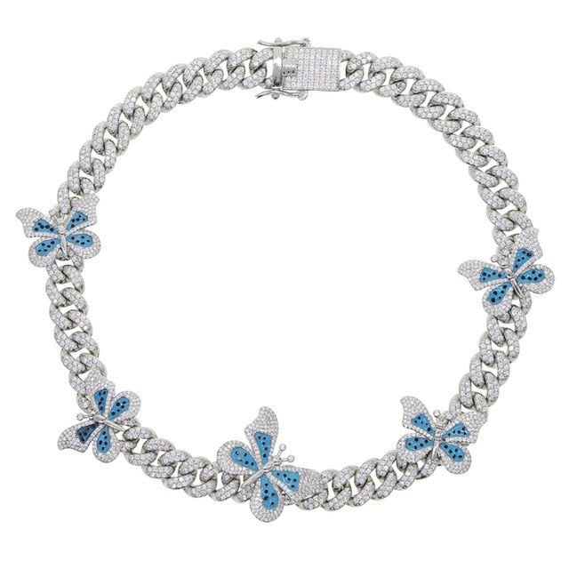 Silver + Blue Butterfly Effect Cuban Choker