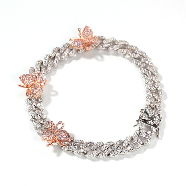 Icy Cubic Zirconia Gold Pink Ice Silver Monarch Butterfly Bling Cuban Link Hip Hop bracelet Anklet  Bling Ring Boutique