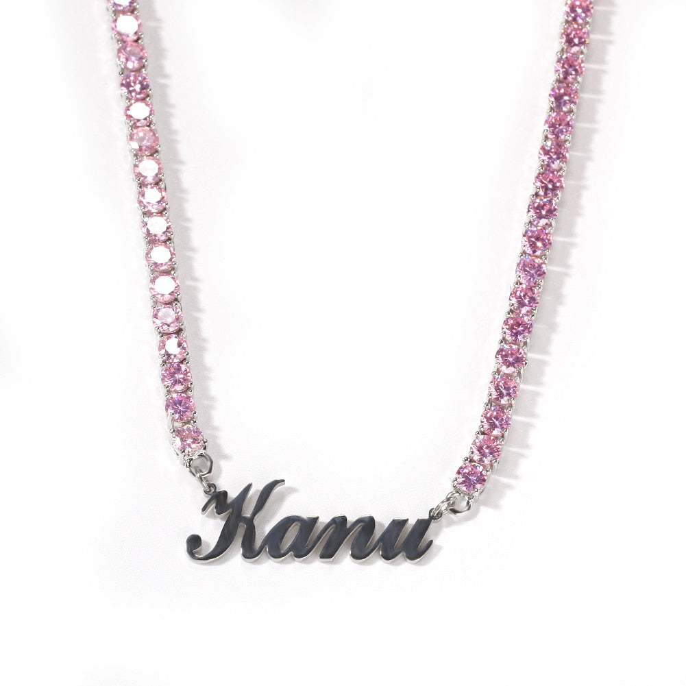 Icy Bling Cubic Zirconia Personalized Custom Nameplate 5MM Silver Pink Ice Tennis Necklace Choker Chain