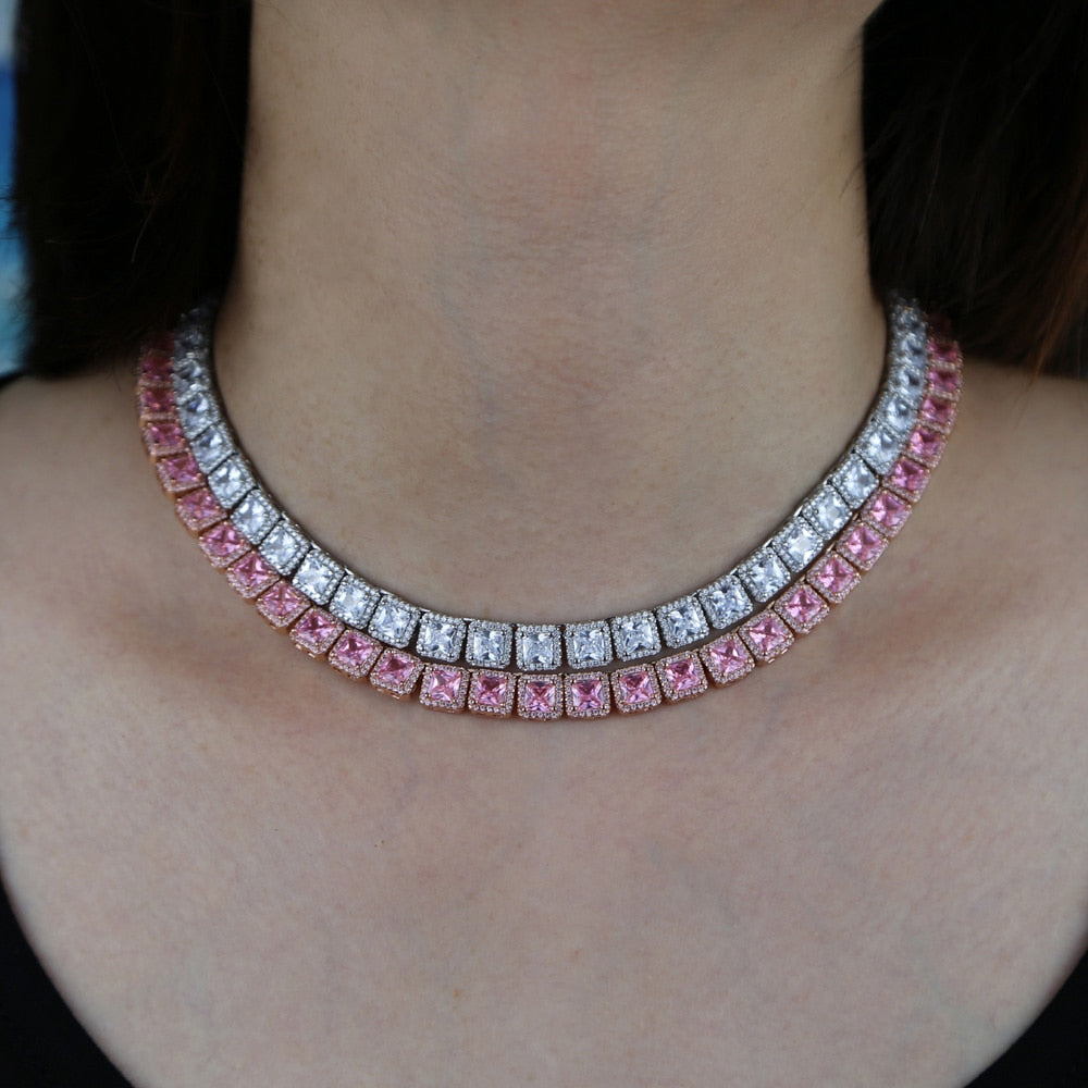 Rose Gold Icy Bling Cubic Zirconia Baguette Cluster Tennis Choker Necklace Silver Bling Ring Boutique