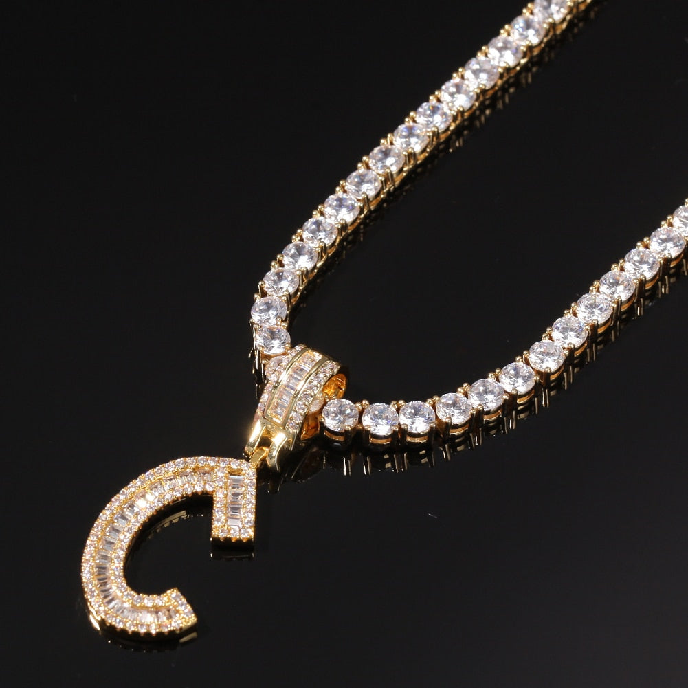 Icy Gold Cubic Zirconia Baguette Bling Initial w/ Tennis Chain Necklace Bling Ring Boutique