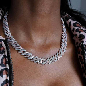 Pink Ice + Silver Miami Cuban Link Choker