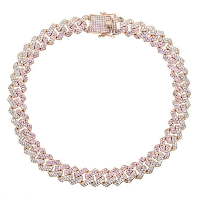 Icy Bling Cubic Zirconia Pink Ice Rose  Gold Miami Cuban Link Choker Necklace Bling Ring Boutique