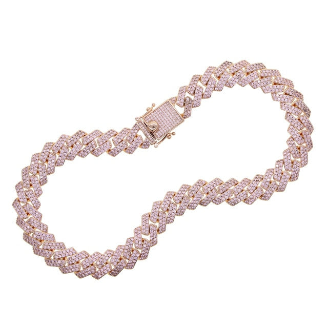Icy Pink Rose Miami Cuban Link Chain