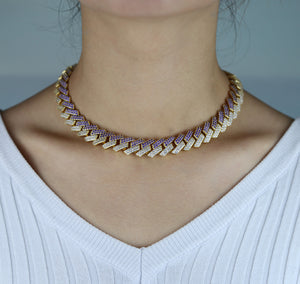 Icy Bling Cubic Zirconia Purple Icy Gold Miami Cuban Link Choker Necklace Bling Ring Boutique