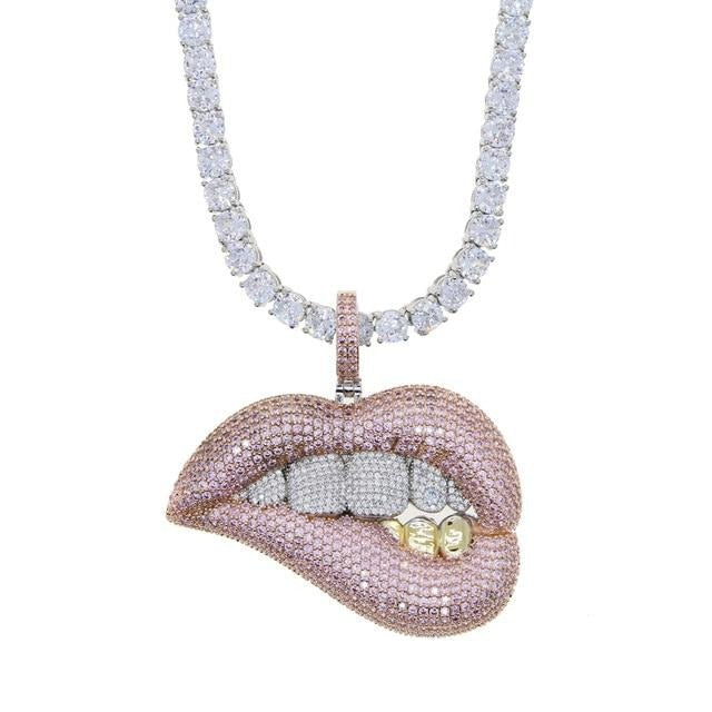 Icy Bling Cubic Zirconia 3 Tone Sexy Mouth Lips Pendant with Tennis Chain Bling Ring Boutique