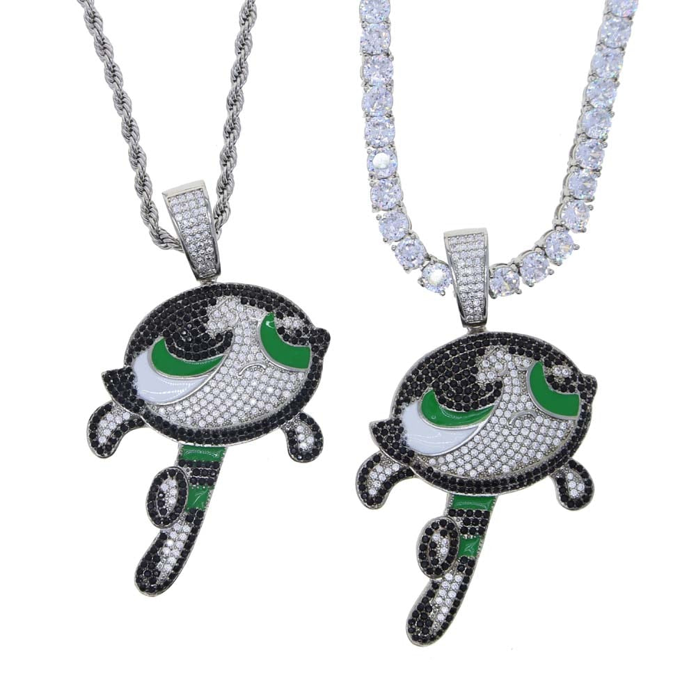 Icy Bling Cubic Zirconia Cartoon Pendant Buttercup Powder Puff Girl Necklace Rope Chain 5mm Tennis Chain Bling Ring Boutique