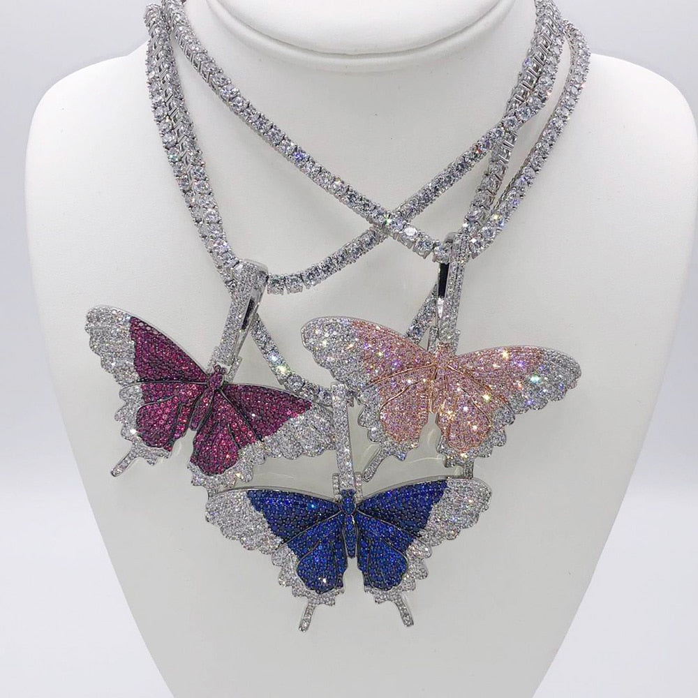 icy bling cubic zirconia crystal rhinestone monarch butterfly bling tennis chain necklace hip hop urban jewelry streetwear