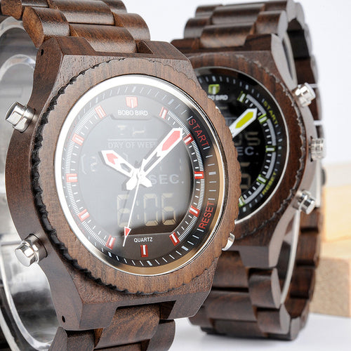New Wooden Mens Watches Multifunctional