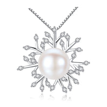 Elegant CZ Snowflake Natural Pearl 925 Sterling Silver Necklace