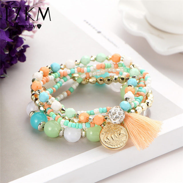 Multicolor Crytals Beads Bracelet with Tassel