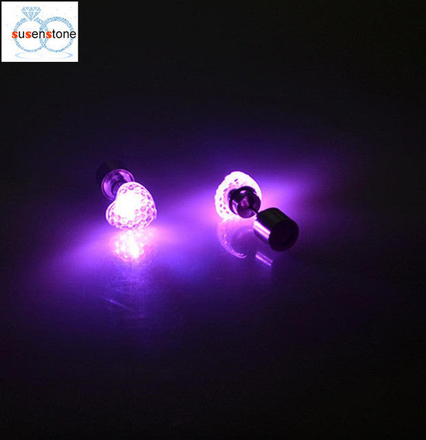 LED heart-shaped luminous earring
