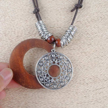 Bohemian Long Necklace with Wooden Alloy Pendant