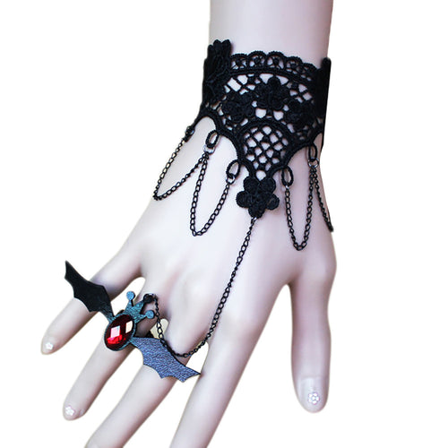 Black Lace Bracelet With One Chain Bat Ring