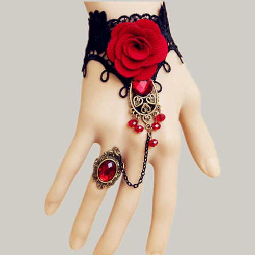 Black Lace Red Rose Bracelet With One Chain Ring