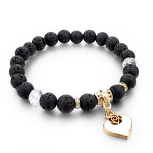 Natural Stone with Heart Charm Bracelet