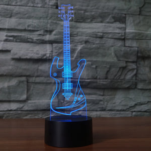 Guitar 3D Illusion LED Night Light with 7 Colors