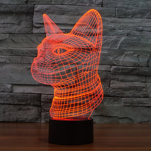 Leopard 3D LED Illusion Night Light with 7 Colors