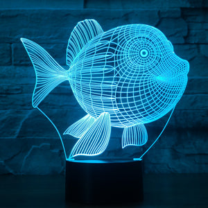 Fish-4 3D Illusion LED Night Light with 7 Colors