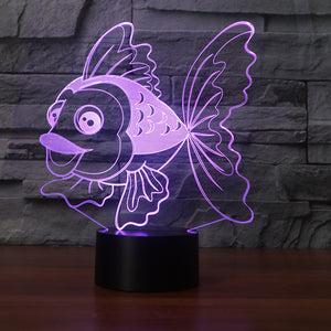 Fish-6 3D Illusion LED Night Light with 7 Colors