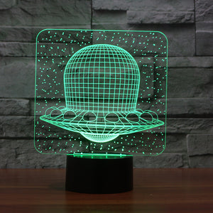 Flying Saucer 3D Illusion LED Night Light with 7 Colors