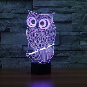 Owl-3 3D Illusion LED Night Light with 7 Colors
