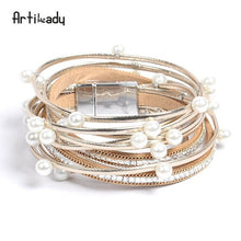 Wrap Leather Bracelet/Bangle with simulated Pearl
