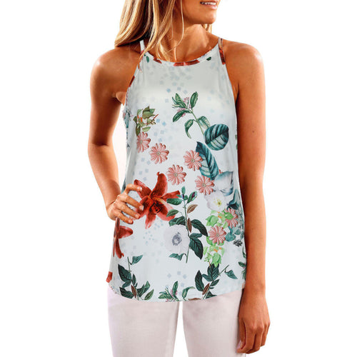 Floral Casual Sleeveless Blouse