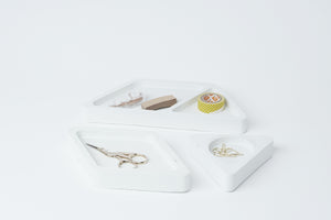office set of trays | white stone
