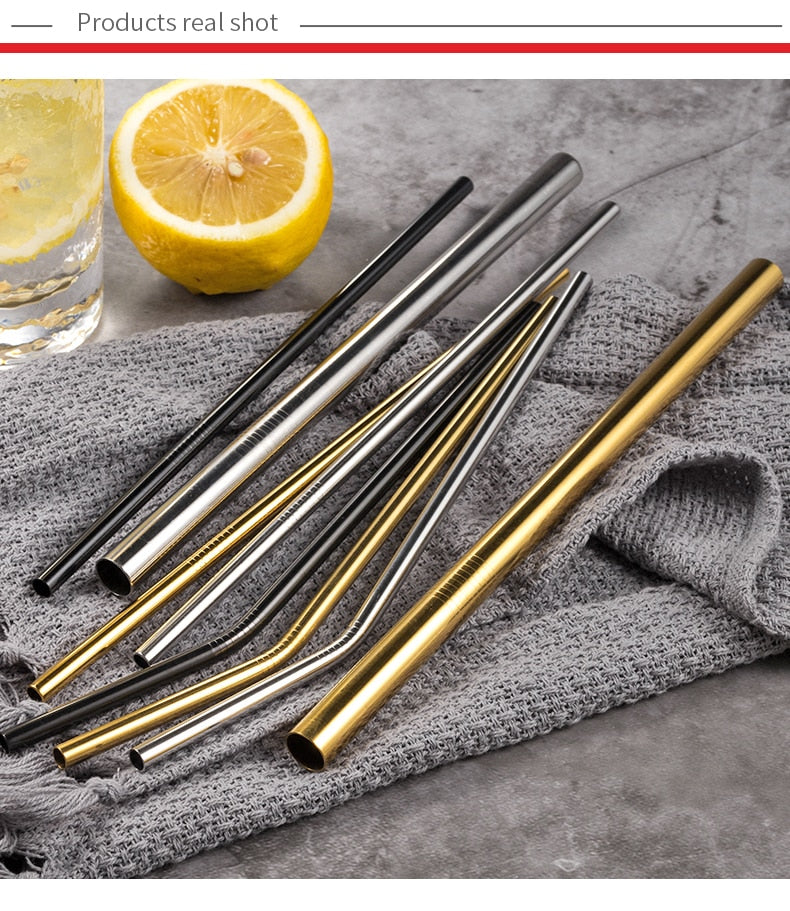 Stainless Steel Reusable Drinking Straws Set | gold
