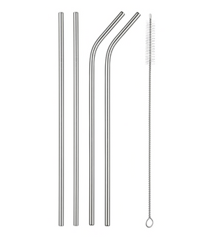 Stainless Steel Reusable Drinking Straws Set | silver