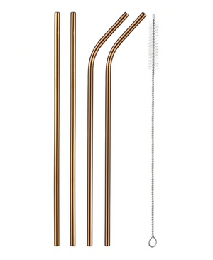 Stainless Steel Reusable Drinking Straws Set | rose gold