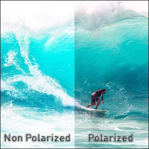 Polarized HD Perfection Sunglasses simulation of watching surfer with and without polarized lenses