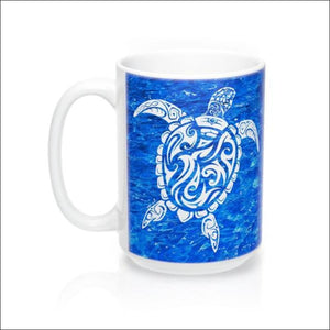 Polynesian Sea Turtle Mug 15 oz - 4 Colors Available - Blue - Drinkware
