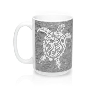 Polynesian Sea Turtle Mug 15 oz - 4 Colors Available - Gray - Drinkware