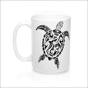Polynesian Sea Turtle Mug 15 oz - 4 Colors Available - White - Drinkware