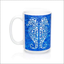 Load image into Gallery viewer, Polynesian Seahorse Mug 15 oz - 4 Color Choices - Blue - Drinkware