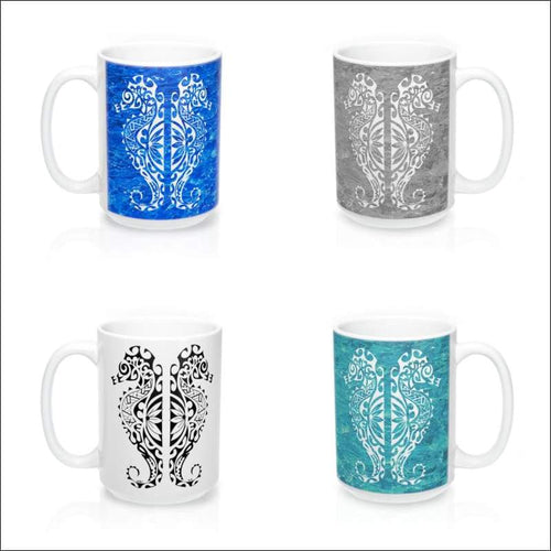 Polynesian Seahorse Mug 15 oz - 4 Color Choices - Drinkware